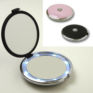 Lighted Jeweled 10x 1x Compact Mirror With Crystals Fl