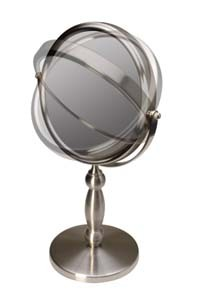FL-15V Brushed Nickel Vanity 15x to 1x Magnifying Mirror
