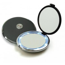 FL-360-B Lighted Jeweled 10x/1x Compact Mirror with Crystals - Black