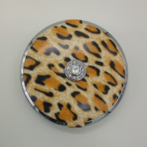 FL-360-L Lighted Jeweled 10x/1x Compact Mirror with Crystals - Leopard